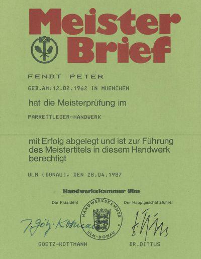 Meisterbrief Parkettlegerhandwerk